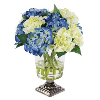 Jane Seymour Botanicals Blue and White Petite Hydrangea Bouquet in 14-inch Clear Glass Footed Vase