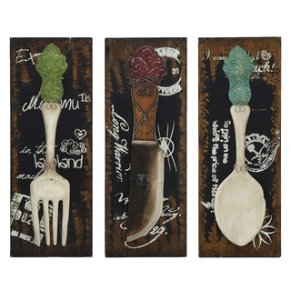 Urban Designs Chef's 3-panel Kitchen Utensil Wall Art