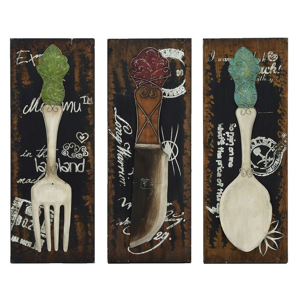 Urban Designs Chef X27 S 3 Panel Kitchen Utensil Wall Art