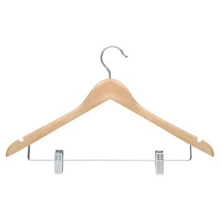 Honey Can Do HNG-01209 Maple Basic Suit Hanger w/ Clips