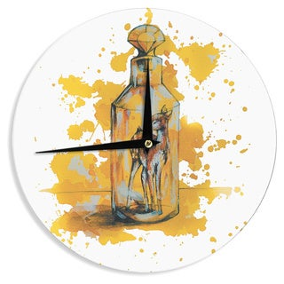 KESS InHouseKira Crees 'Vintage Bottled Deer' Yellow White Wall Clock