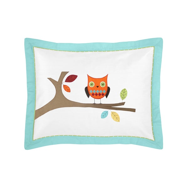 Sweet Jojo Designs Turquoise and Lime Hooty Collection Standard Pillow Sham