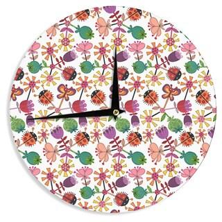 KESS InHouseJane Smith 'Garden Floral' Plants Bugs Wall Clock
