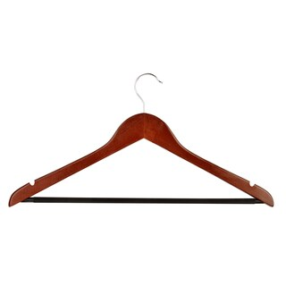 Honey Can Do HNG-01207 Cherry Finish Basic Suit Hanger w/ No-Slip Bar 4-ct
