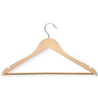 Honey Can Do HNG-01206 Maple Suit Hanger w/ Non-Slip Bar 4-ct