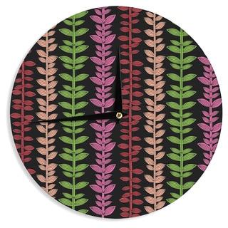 KESS InHouseJane Smith 'Garden Vine and Leaf' Rainbow Vines Wall Clock