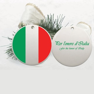 Italian Flag and Motto Ceramic 2.75-inch Disc Christmas Ornament