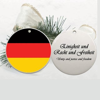 German Flag and Motto 2-3/4-inch Ceramic Disc Ornament