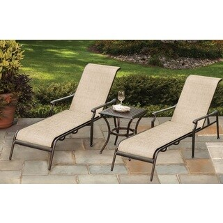 Cast Aluminum & Sling Chaise Lounges and Side Table