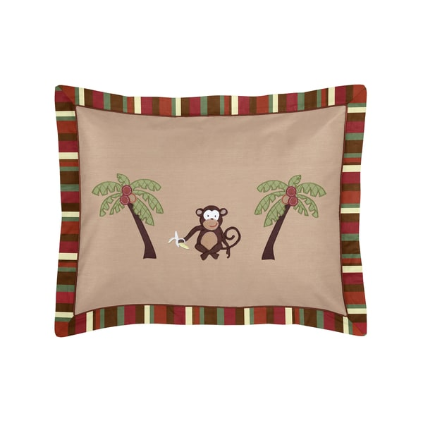 Sweet Jojo Designs Monkey Time Collection Standard Pillow Sham