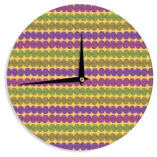 KESS InHouseJane Smith 'Under the Sea Shells' Purple Yellow Wall Clock