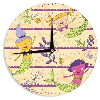 KESS InHouseJane Smith 'Under the Sea' Tan Purple Wall Clock