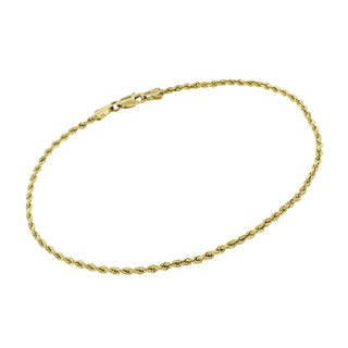 14k Yellow Gold 2mm Hollow Rope Diamond-Cut Link Twisted Bracelet Chain 8""
