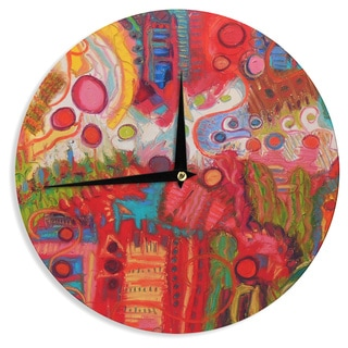 KESS InHouseJeff Ferst 'Desert Under A Full Moon' Red Pink Wall Clock