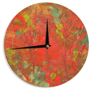 KESS InHouseJeff Ferst 'Crimson Forest' Red Green Wall Clock