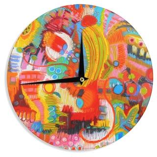KESS InHouseJeff Ferst 'Flower Power' Abstract Multicolor Wall Clock