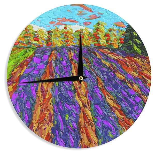 KESS InHouseJeff Ferst 'Flowers in the Field' Orange Purple Wall Clock