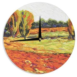 KESS InHouseJeff Ferst 'Summer Breeze' Orange Foliage Wall Clock