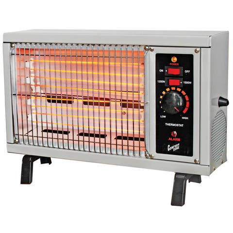 Comfort Zone CZ550 1500w Electric Radiant Space Heater with Adjustable Thermostat, Ivory