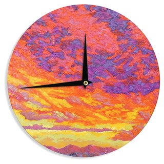 KESS InHouseJeff Ferst 'View From the Foothills' Orange Purple Wall Clock