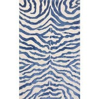 Pasargad's Edgy Collection Hand-tufted Viscose from Bamboo and Wool Beige/ Blue Zebra Area Rug (5' x