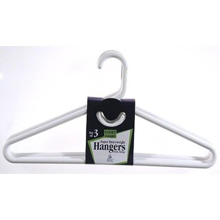 Merrick C86311SHW WHT White Super Heavy Weight Tubular Hanger w/ Hook 3-ct