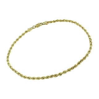 14k Yellow Gold 2.5mm Hollow Rope Diamond-Cut Link Twisted Bracelet Chain 8""