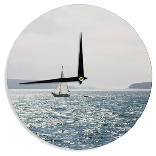 KESS InHouseJillian Audrey 'Sail the Sparking Seas' Blue Gray Wall Clock