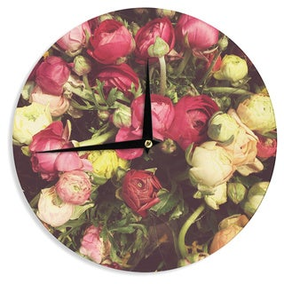 KESS InHouseJillian Audrey 'Ranunculus' Pink Yellow Wall Clock