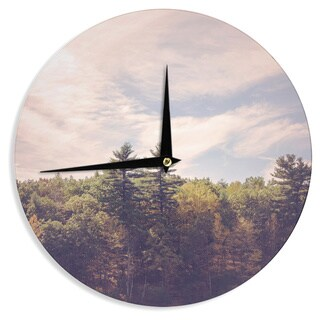 KESS InHouseJillian Audrey 'Walden Woods' Green White Wall Clock