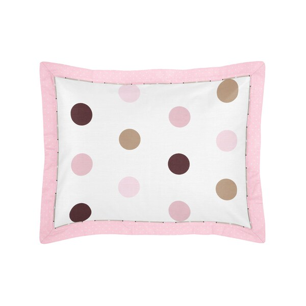 Pink and Chocolate Mod Dots Collection Standard Pillow Sham by Sweet Jojo Designs
