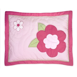 Sweet Jojo Designs Pink and Green Flower Collection Standard Pillow Sham
