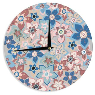KESS InHouseJolene Heckman 'Marsala Floral Mix' Pink Blue Wall Clock
