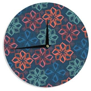 KESS InHouseJolene Heckman 'Floral Charm' Blue Flowers Wall Clock