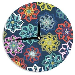 KESS InHouseJolene Heckman 'Multi Flower' Rainbow Flowers Wall Clock