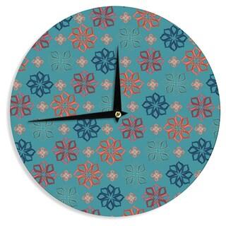 KESS InHouseJolene Heckman 'Turquoise Mini' Teal Flowers Wall Clock