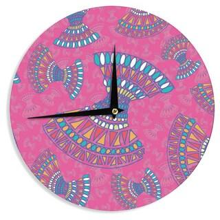 KESS InHouseMiranda Mol 'Tribal Fun Pink' Magenta Abstract Wall Clock