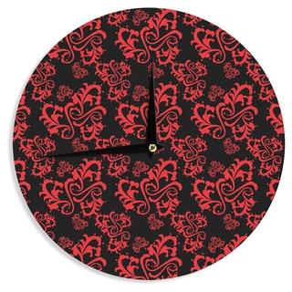 "Kess InHouse Mydeas ""Sweetheart Damask Black & Red"" Pattern Wall Clock 12"""