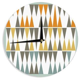 "Kess InHouse Pellerina Design ""Diamond Kilim"" Triangles Wall Clock 12"""