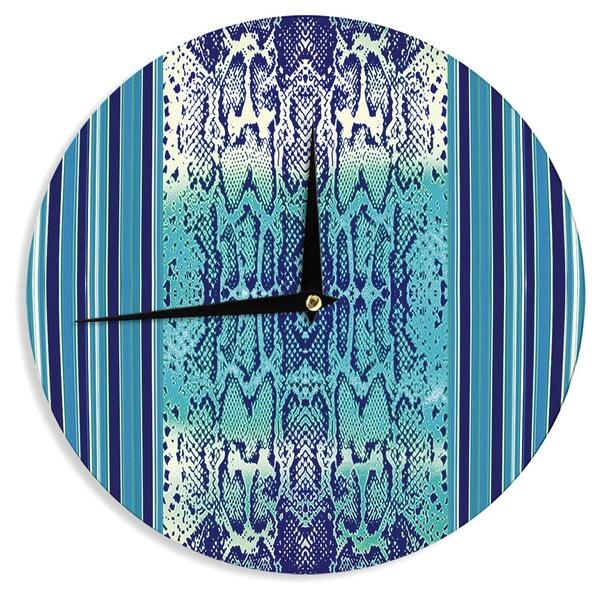 KESS InHouseNina May 'Aqua Snake' Blue Teal Wall Clock
