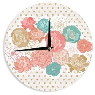 KESS InHousePellerina Design 'Spring Florals' Blush Peony Wall Clock
