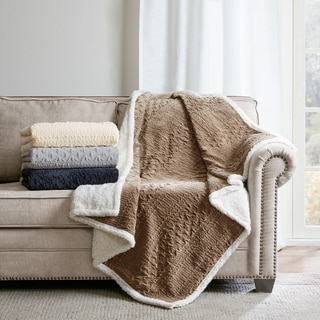Madison Park Annabel Textured Plush Throw 4-Color Options