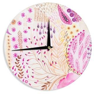 KESS InHouse Li Zamperini 'Delicada' Pink Tan Wall Clock
