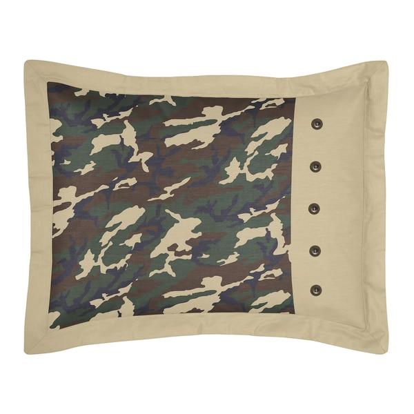 Sweet Jojo Designs Green Camo Collection Standard Pillow Sham