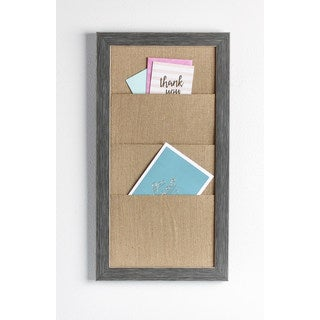 Designovation Wyeth Framed Burlap Pocket Wall Organization Board