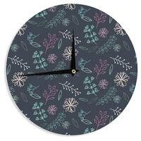 KESS InHouse Louise 'Flower III' Blue Teal Wall Clock