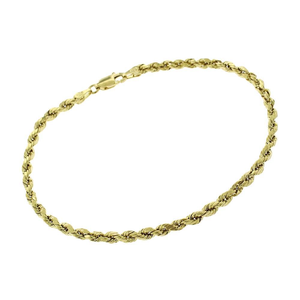 10K White Gold Diamond Cut 5mm Mens Womens Rope Chain Bracelet 8-9 Inch