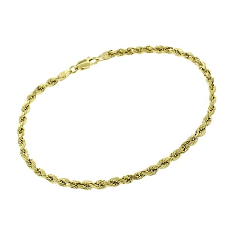 """14k Yellow Gold 3mm Hollow Rope Diamond-Cut Link Twisted Bracelet Chain 8"""""""
