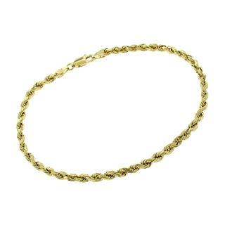 14k Yellow Gold 3mm Hollow Rope Diamond-Cut Link Twisted Bracelet Chain 8""