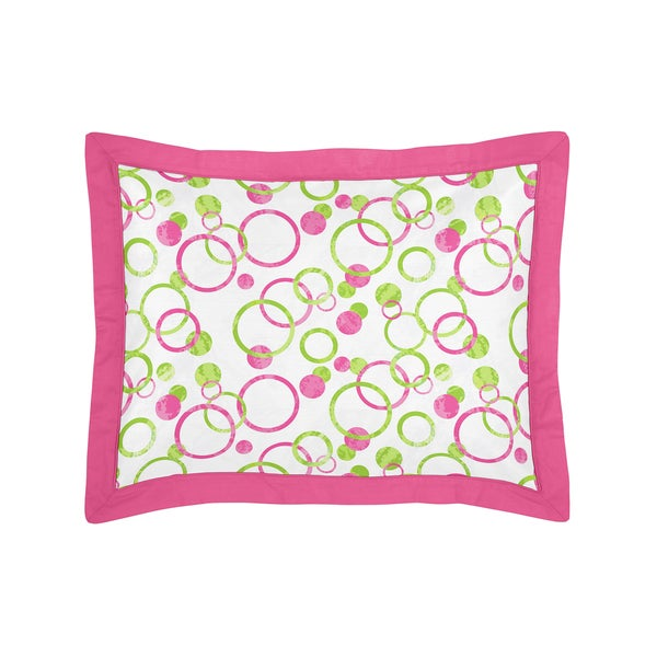 Sweet Jojo Designs Pink and Green Mod Circles Collection Standard Pillow Sham